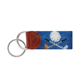 SMATHERS & BRANSON GOLF CROSSED CLUBS NEEDLEPOINT KEY FOB