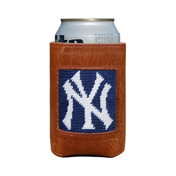 SMATHERS & BRANSON NY YANKEES NEEDLEPOING & LEATHER CAN COOLER