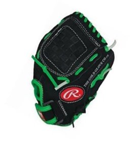 "Rawlings RAWLINGS SAVAGE BASEBALL GLOVE 9.5"" - Blk/Green"