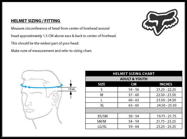 fox helmet sizing