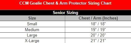 ccm sr chest gear sizing
