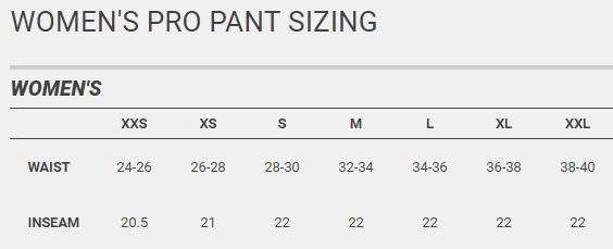 easton womens sizing