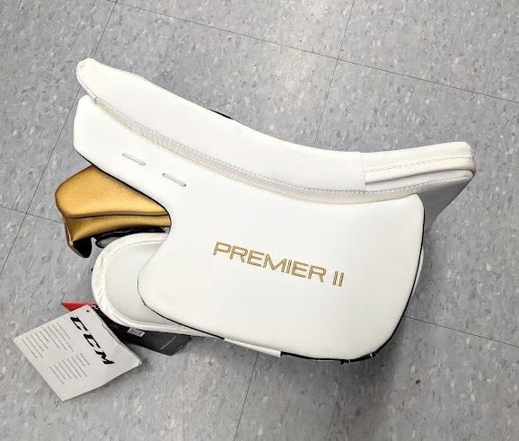 CCM Hockey CCM GB PREMIER 2 PRO GOALIE BLOCKER - Wht/Blk/Gold