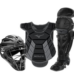 "Mizuno MIZUNO SAMURAI WOMENS BOXED CATCHER'S GEAR SET (13-14"") BLACK-GREY"