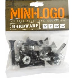 "Mini Logo Mini Logo Hardware Black - 1"" Phillips"