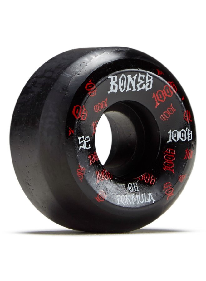 Bones PP Wheels - set of 4 Black - Bones Logo - V5 100's Side Cuts 52