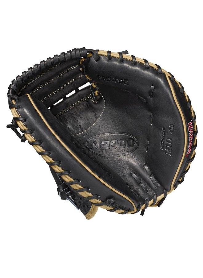 """2021 Wilson A2000 M1DSS 33.5"""" SuperSkin Baseball Catcher's Mitt Black/Blonde"""