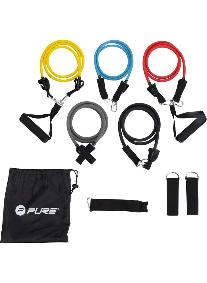 PURE 2 IMPROVE EXERCISE TUBE SET YLW/RED/BLU/BLK/GRY