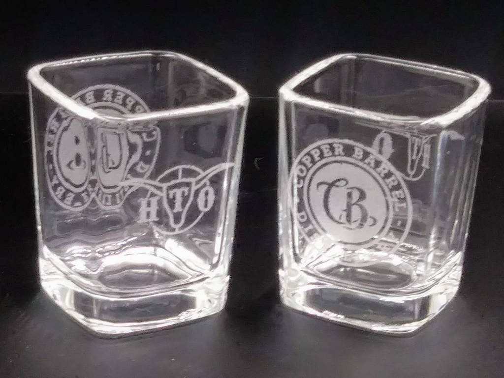 HTO/CB Laser Etched Square Shot Glass