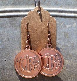 Copper Barrel Round Copper Earrings