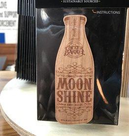 Copper Barrel Distillery Wood Sticker - Moonshine Bottle [Cherry]