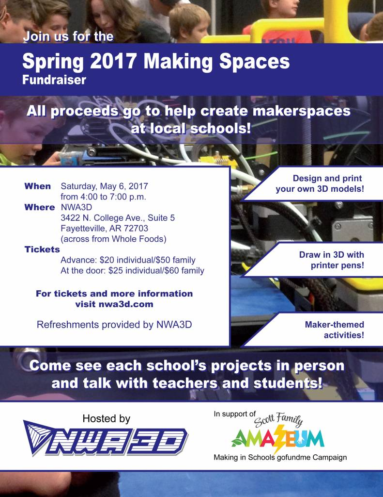 Spring 2017 Making Spaces Fundraiser Hosted by NWA3D