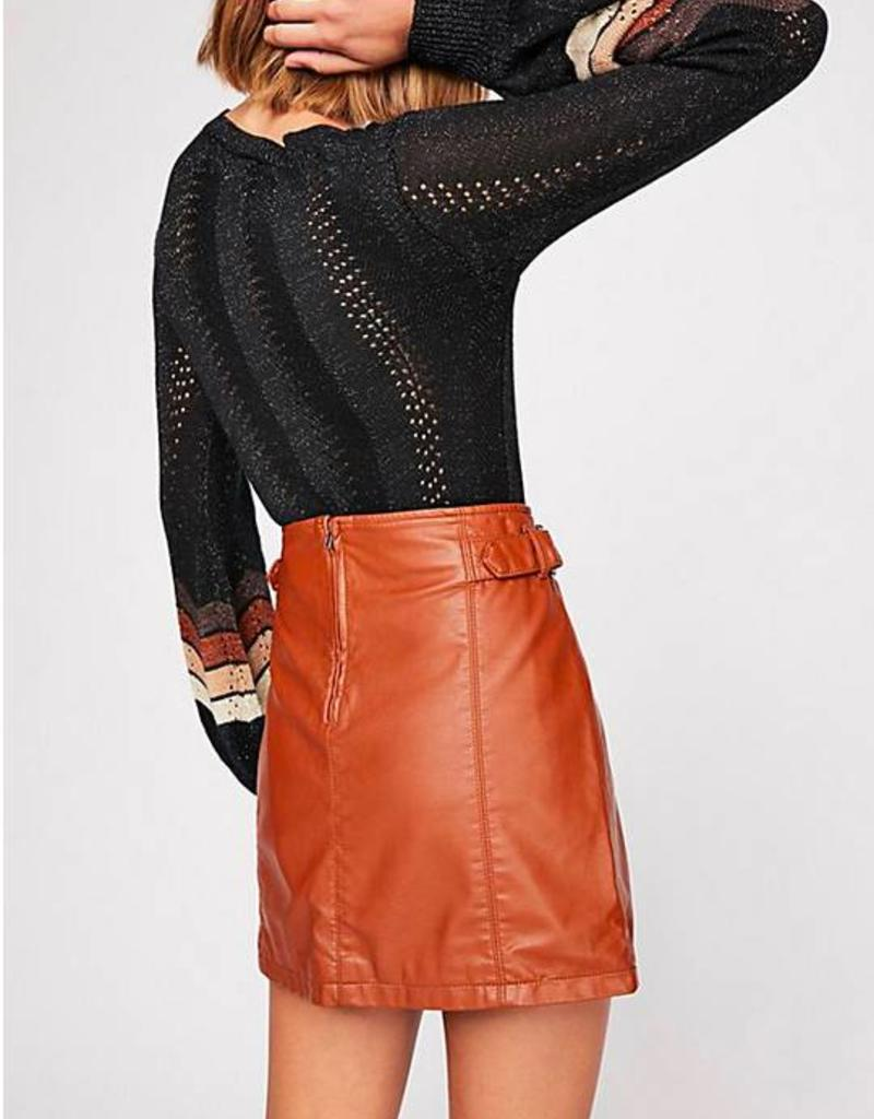 Free People Charli Vegan A-Line Skirt