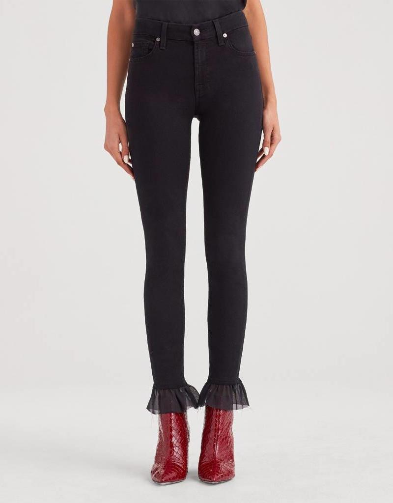 7 For All Mankind Ankle Skinny with Organza Hem - b(air) Black