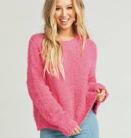 Show Me Your Mumu Cropped Varsity Sweater - Dazzling Pink Knubby Knit