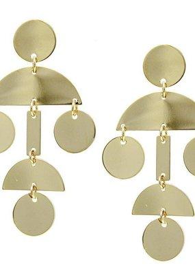 LABEL Geometric Metal Drop Earrings