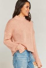 Show Me Your Mumu Cody Crop Sweater ~ Distressed Knit Peach
