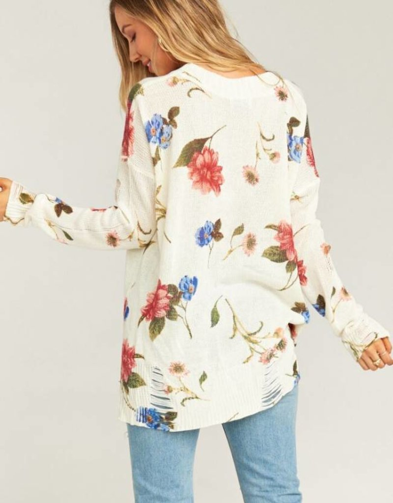Show Me Your Mumu Cliffside Distressed Sweater ~ Florence Floral Knit