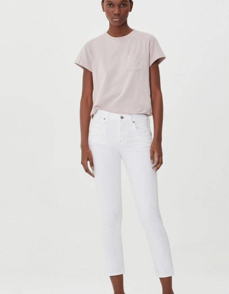 Citizens of Humanity Elsa Mid Rise Slim Fit Crop in Sea Salt