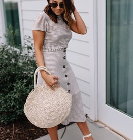 Minkpink Striped Knit Midi Skirt
