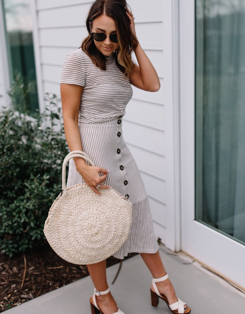 Minkpink Striped Knit Midi Skirt