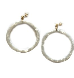 Joy Dravecky St Tropez Pearl Hoop Earrings
