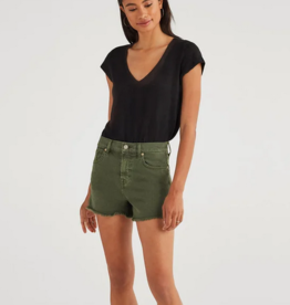 7 For All Mankind High Waist Vintage Cut Off Short - Army Green
