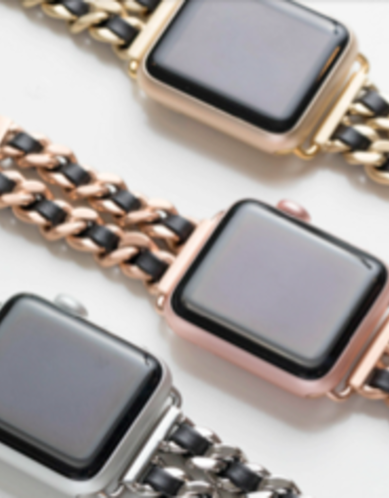LABEL Chainlink Leather Apple Watch Band
