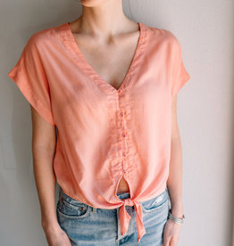 Bella Dahl Short Sleeve Tie Up Blouse