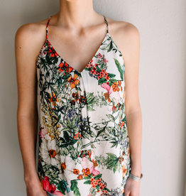 Lavender Brown Racerback Floral Cami Top