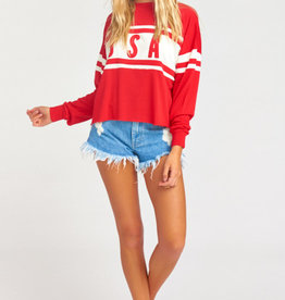 Show Me Your Mumu Payton Crop Pullover ~ USA Graphic