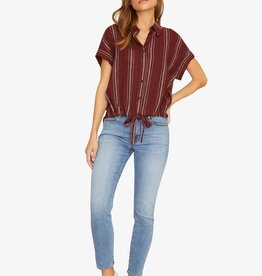 Sanctuary Borrego Tie Shirt Henna Stripe