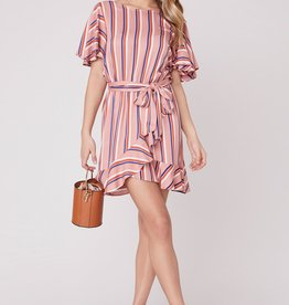 Jack by BB Dakota Stripe Three Ruffle Sleeve Dress