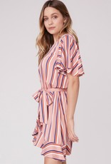 Jack by BB Dakota Stripe Three Ruffle Sleeve Dress