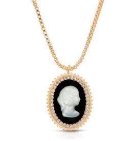 Joy Dravecky Cameo Pendant Necklace - Black
