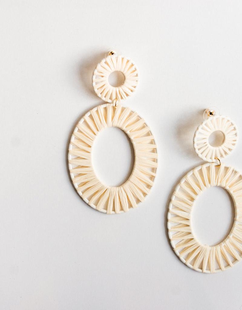 LABEL Rattan Oval Drop Earrings