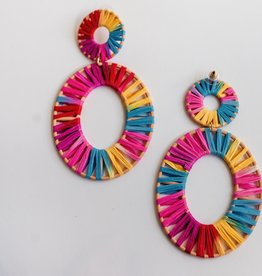LABEL Rattan Oval Drop Earrings