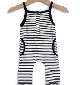 Little Bipsy Tank Stripe Romper - Black