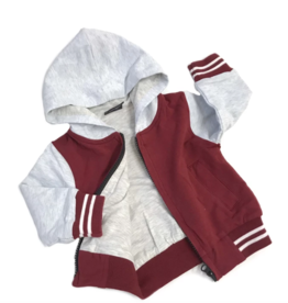 Little Bipsy Hooded Sport Jacket- Maroon/Grey