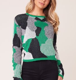 BB Dakota Blending In Abstract Camo Sweater