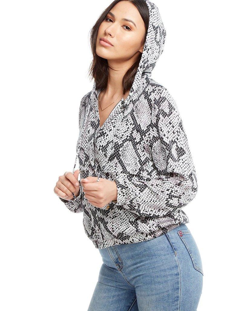 Chaser Heirloom Woven Cropped Long Sleeve Zip Up Flap Panel Hoodie Jacket