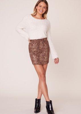 BB Dakota Here Kitty Leopard Faux Suede Skirt