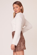 BB Dakota Here Kitty Leopard Faux Suede Skirt