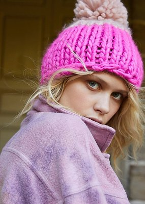 Free People Cozy Up Color Block Pom Beanie