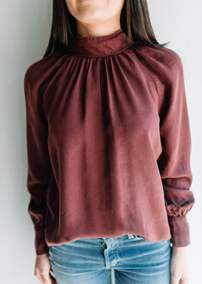 Bella Dahl Tie Back Mock Neck Blouse - Merlot