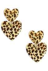 Neely Phelan Double Leopard Heart Earrings