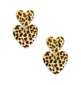 Neely Phelan Double Leopard Heart Earrings