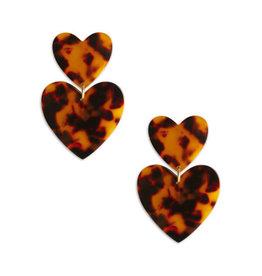 Neely Phelan Double Tortoise Heart Earrings