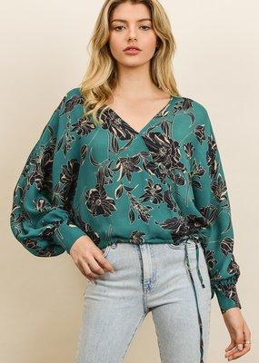 Dress Forum Faye Floral Print Surplice Blouse