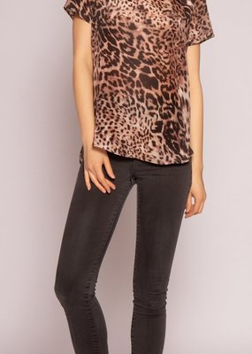 Lavender Brown Brown Leopard Silk Top